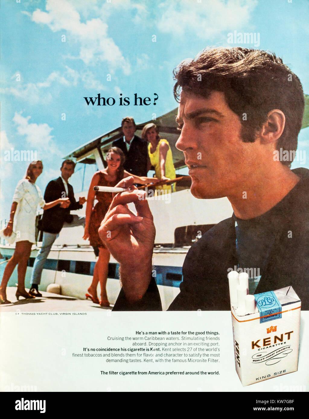 1960 Revista Publicidad publicidad cigarrillos Kent. Imagen De Stock