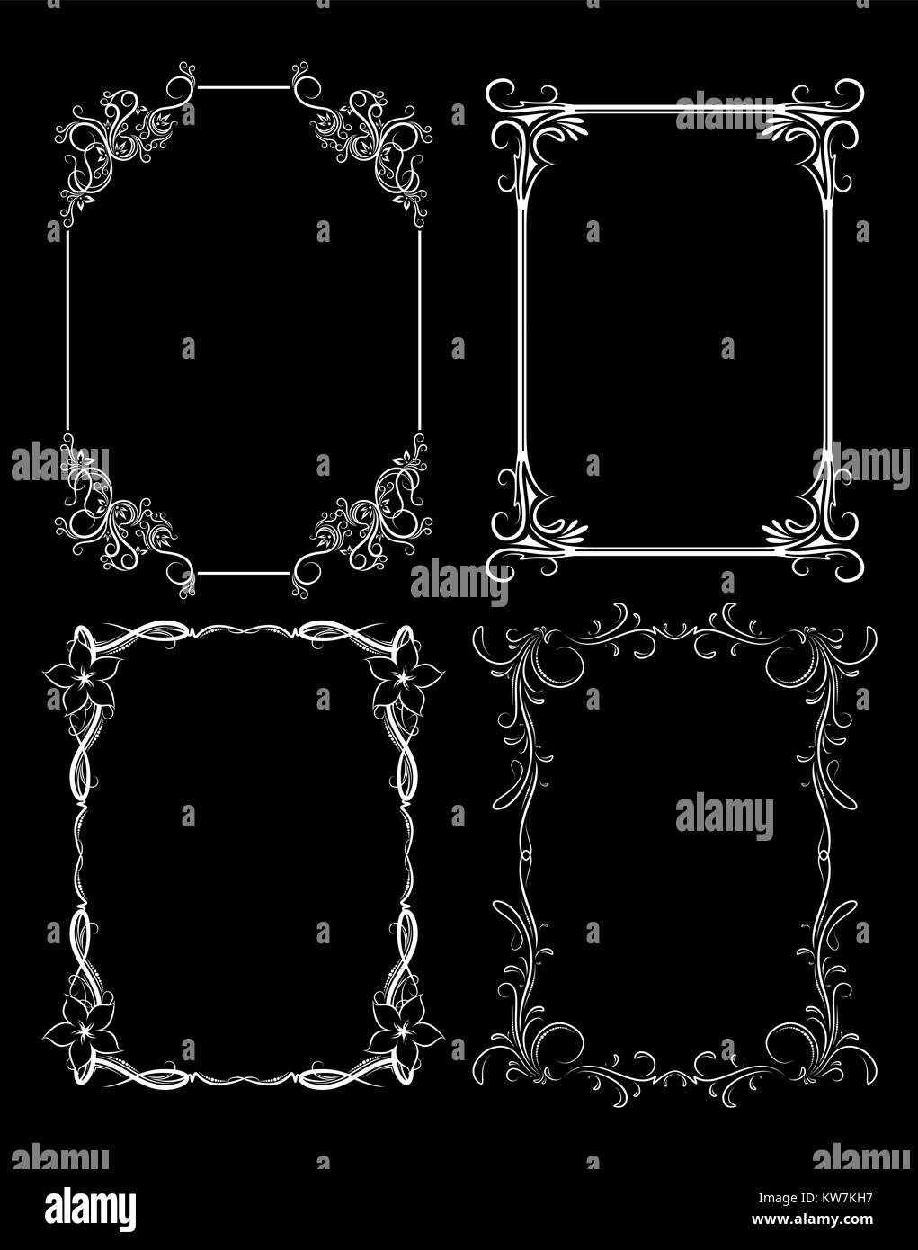 Conjunto de cuatro tramas vectoriales vintage decorativos sobre un ...