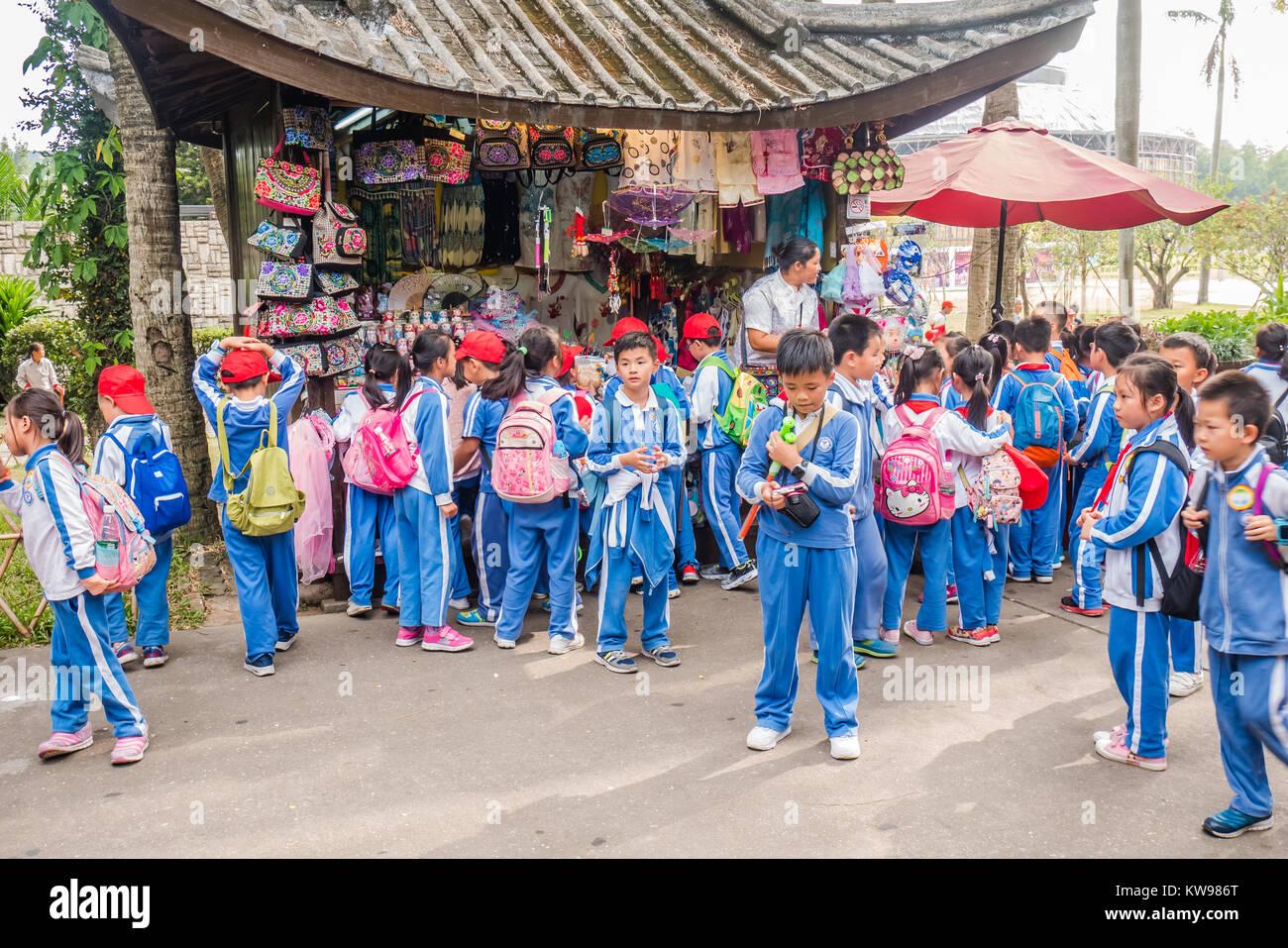 Los alumnos de la escuela elemental del viaje de campo Imagen De Stock