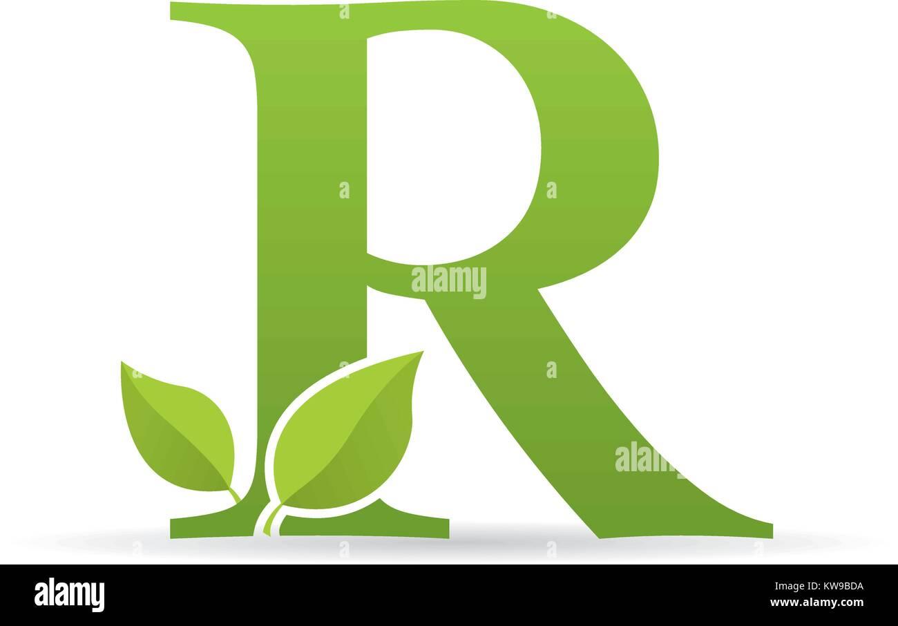 Logotipo con la letra r de color verde decorado con hojas verdes ...