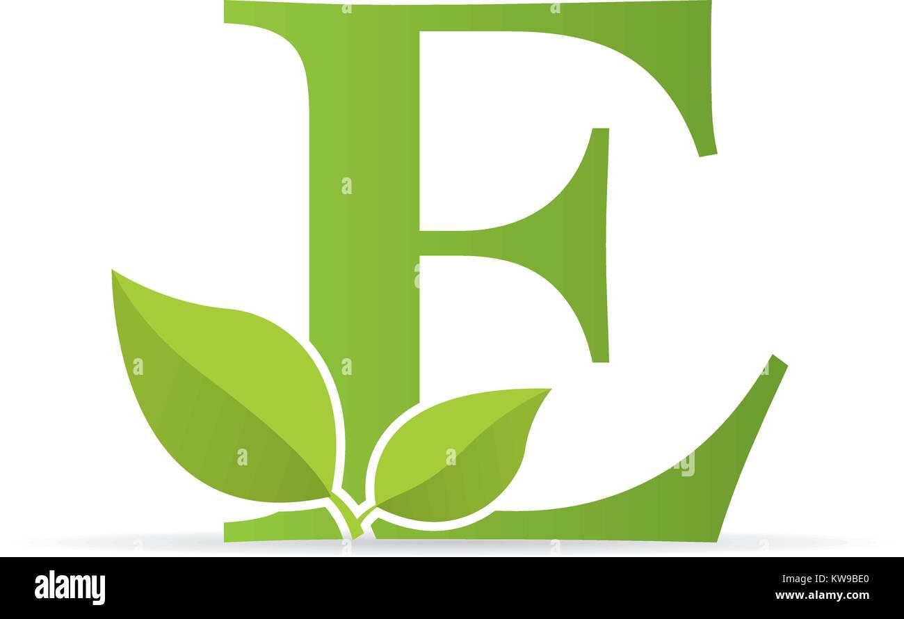 Logotipo Con La Letra E De Color Verde Decorado Con Hojas