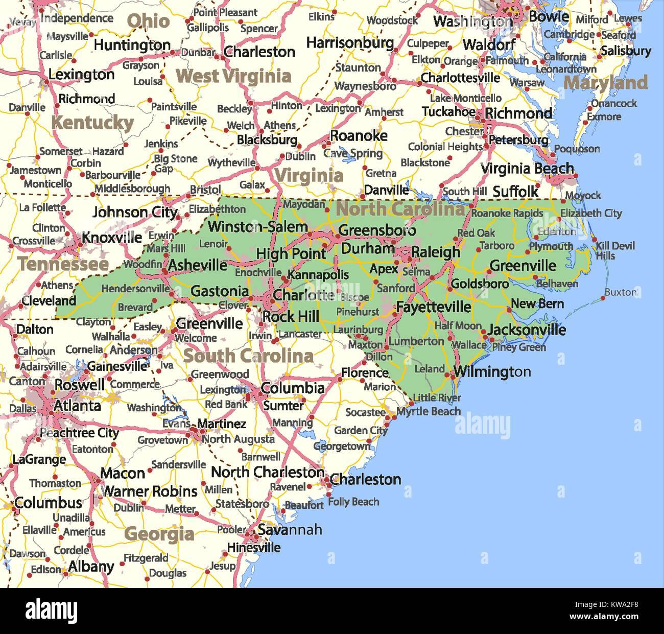 Carolina Del Norte Mapa.Mapa De Carolina Del Norte Muestra Las Fronteras De Los