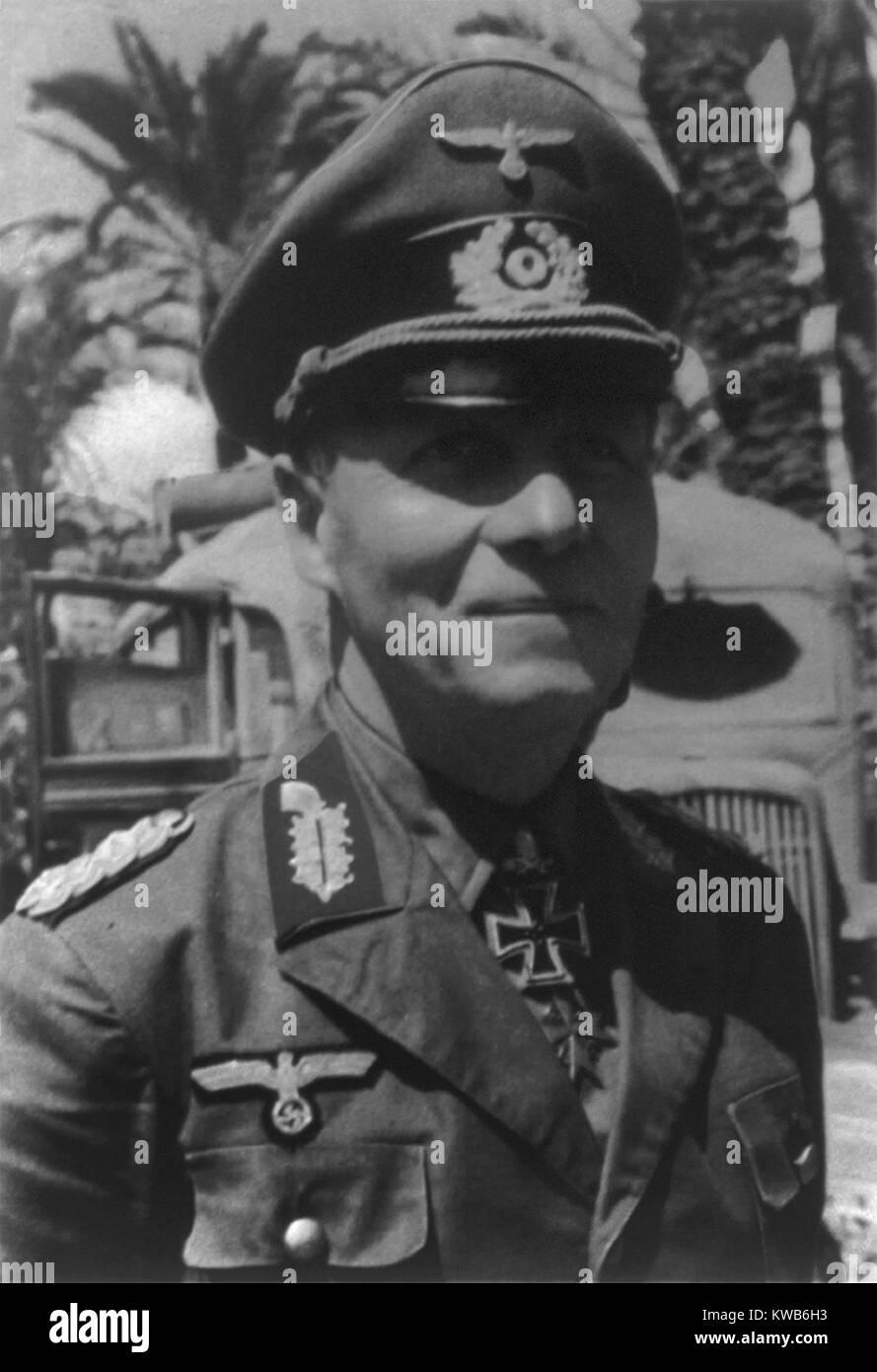 General Erwin Rommel, comandante alemán en Francia y el Norte de África durante la Segunda Guerra Mundial. Ca. 1940 Foto de stock
