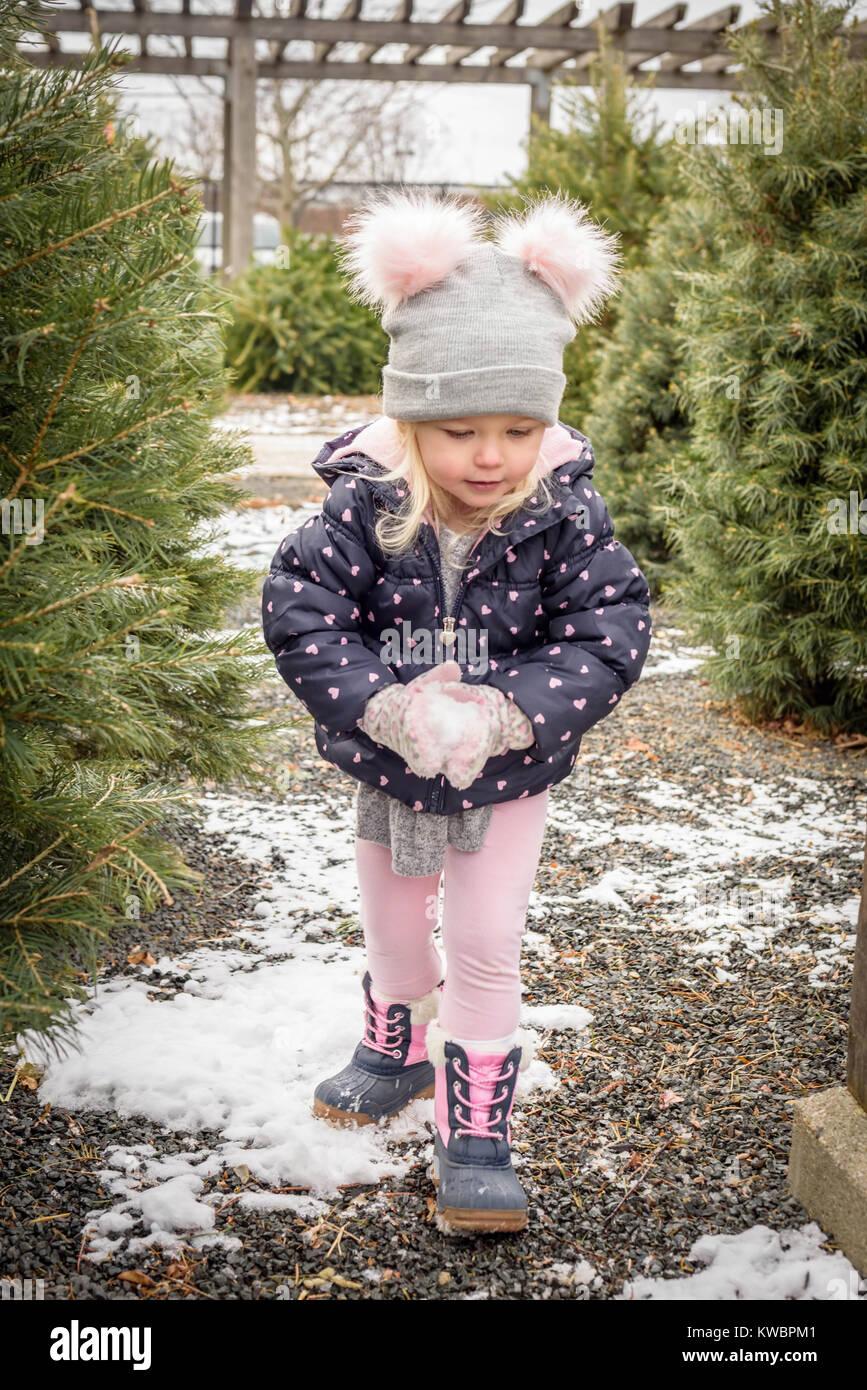 Closeup retrato de cute kid en vivero exterior sacando un árbol de navidad y hacer una bola de nieve Imagen De Stock