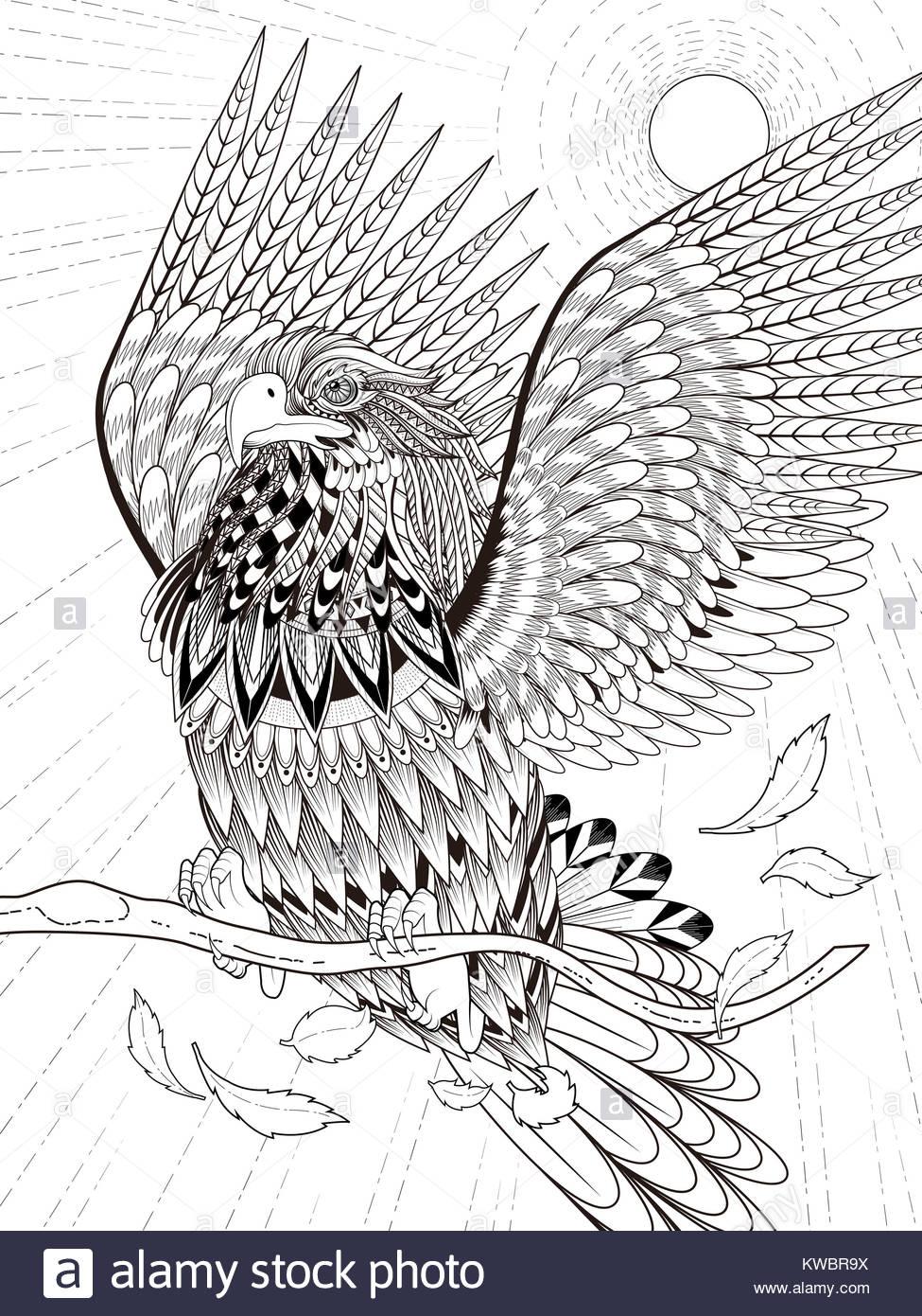Imponente águila volando página para colorear en línea exquisita ...