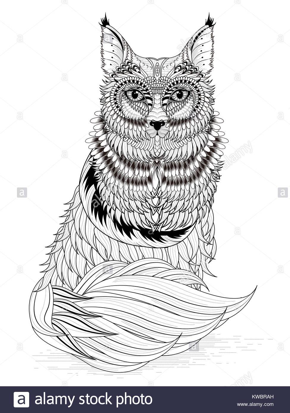 Black White Fox Vector Imágenes De Stock & Black White Fox Vector ...