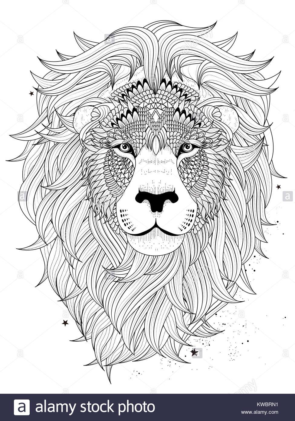 Outline Lion Head Animal Vector Imágenes De Stock & Outline Lion ...