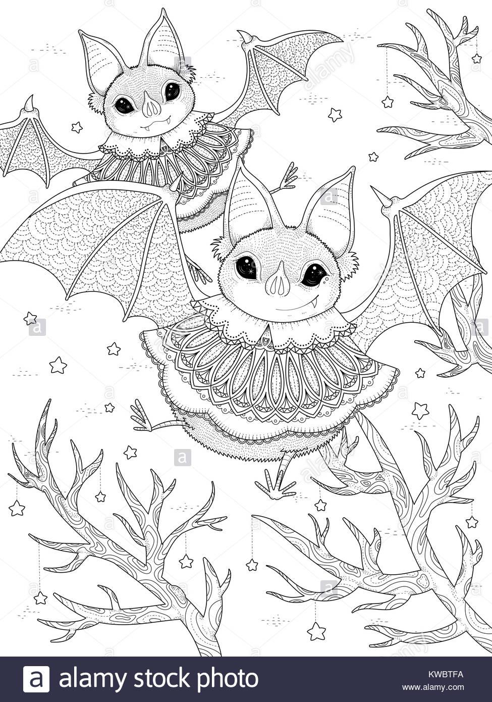 Página para colorear de adultos - encantador bat volando por la ...