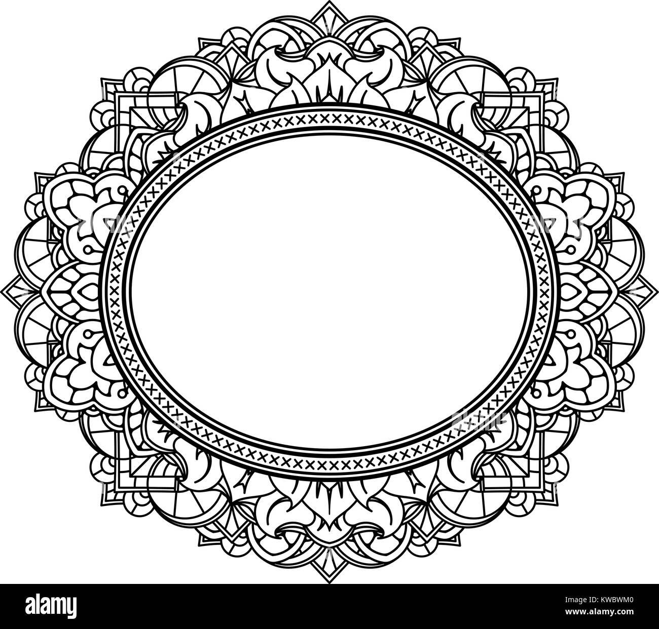 Marco ovalado decorado rico patrón. Vector Fondo decorativo en ...