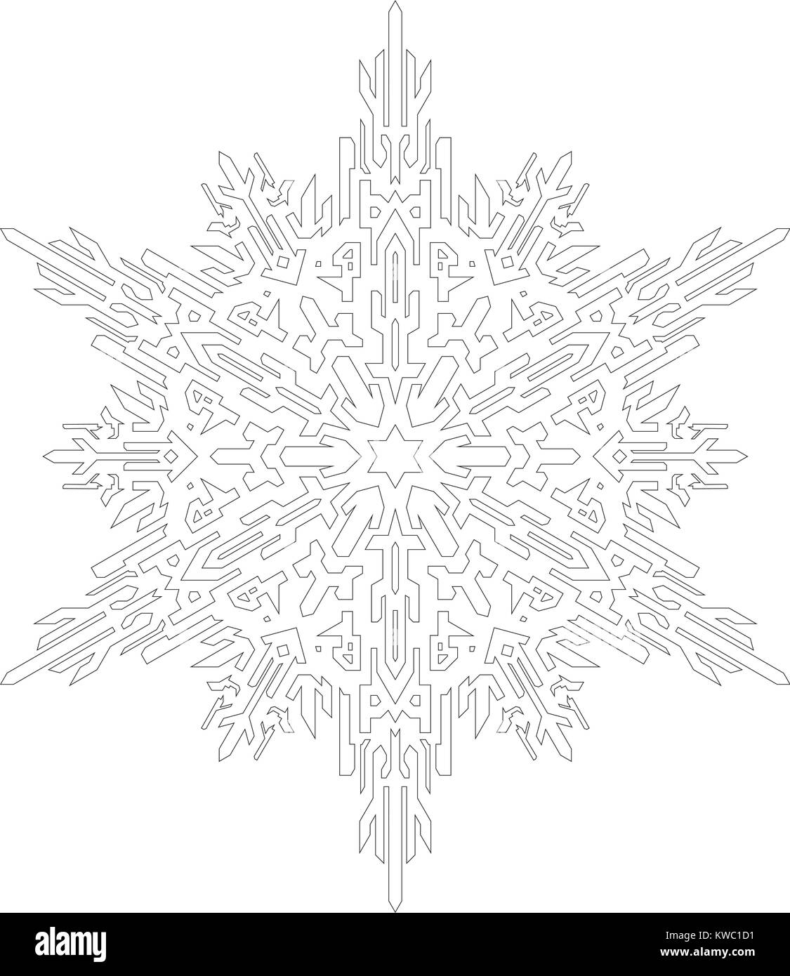 Contornos de copo de nieve en línea mono estilo de libro para ...