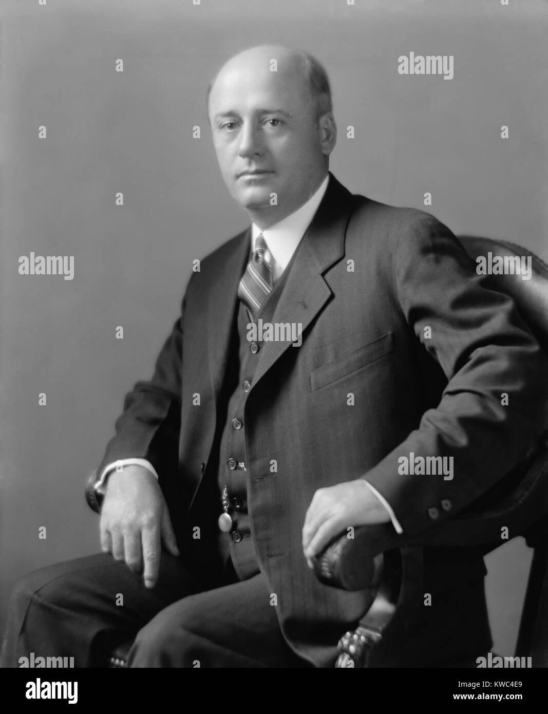 El Congresista Sam Rayburn en la década de 1920. Representó a 4º distrito de Texas desde 1913 hasta 1961. Diecisiete Foto de stock