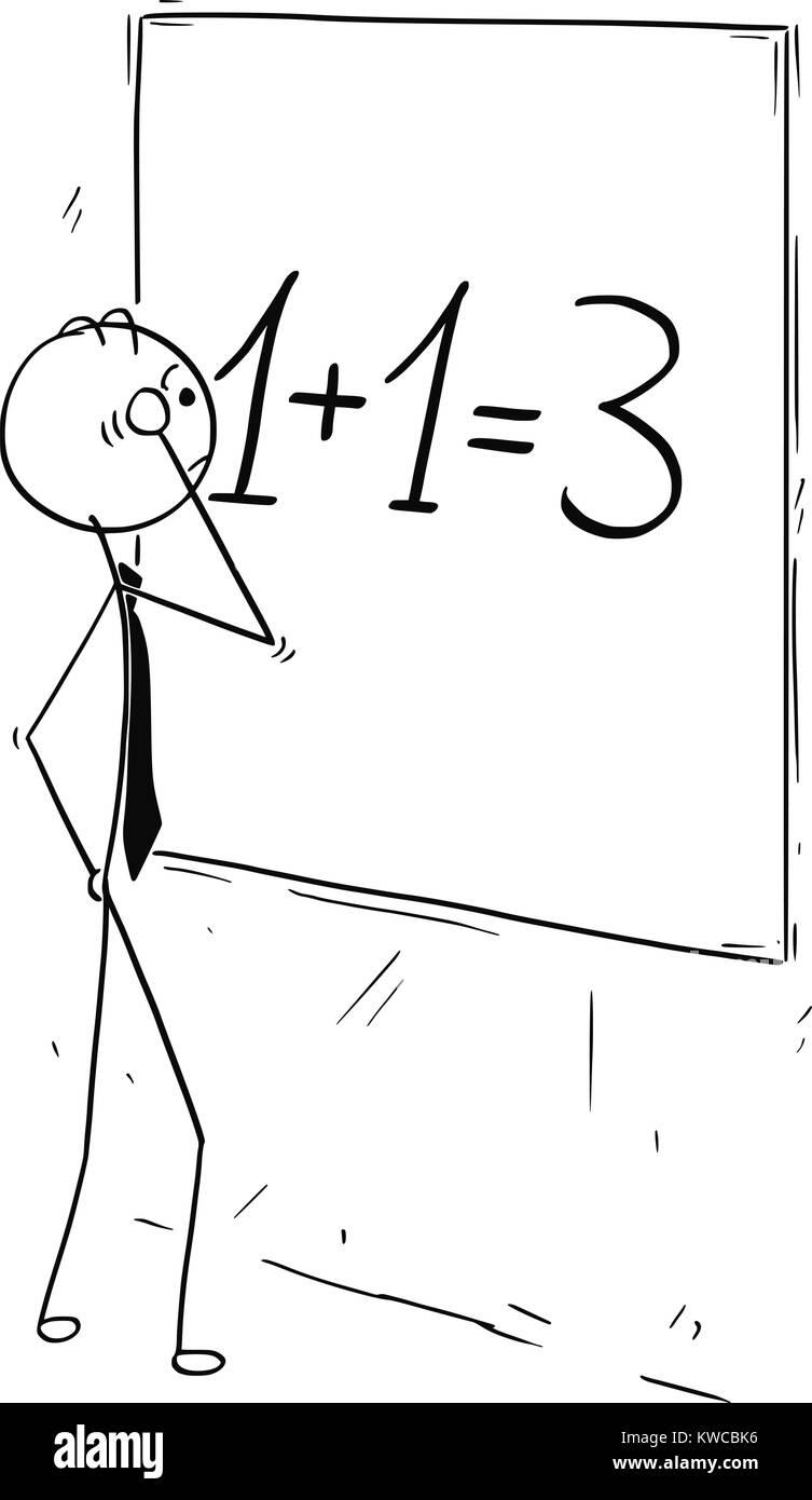 Cartoon stick hombre concepto dibujo ilustración del empresario busca y calculando en wall board.Concepto de Imagen De Stock