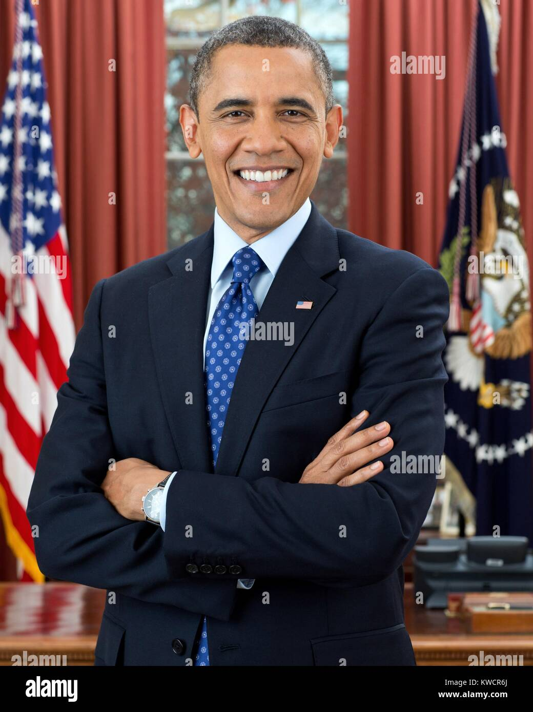 El presidente Barack Obama es oficial segundo término retrato. Casa Blanca, la Oficina Oval, 6 de diciembre de 2012. Foto de stock