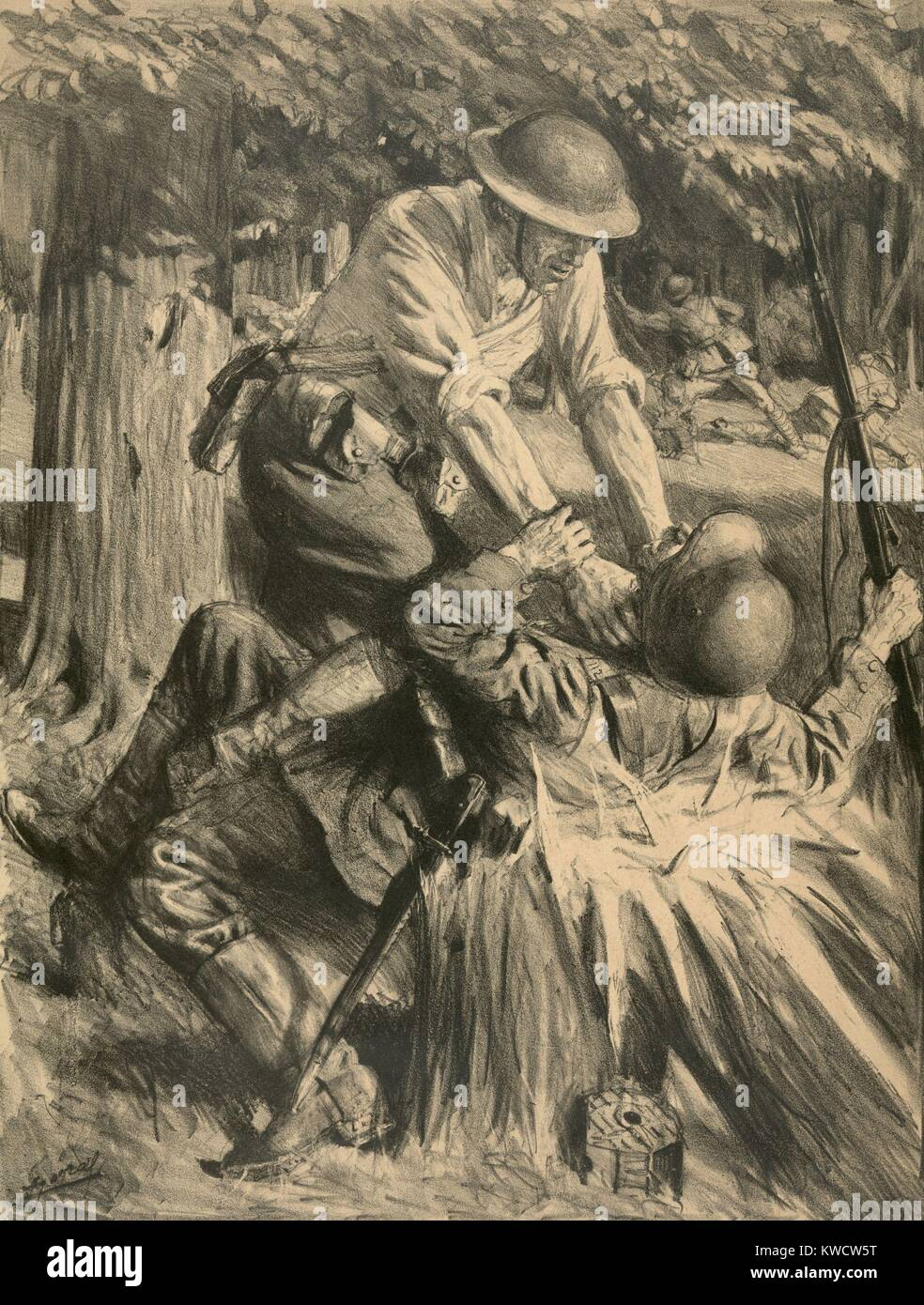 La I Guerra Mundial: la batalla de Belleau Wood. Soldado americano estrangulando a un soldado alemán en la batalla Foto de stock