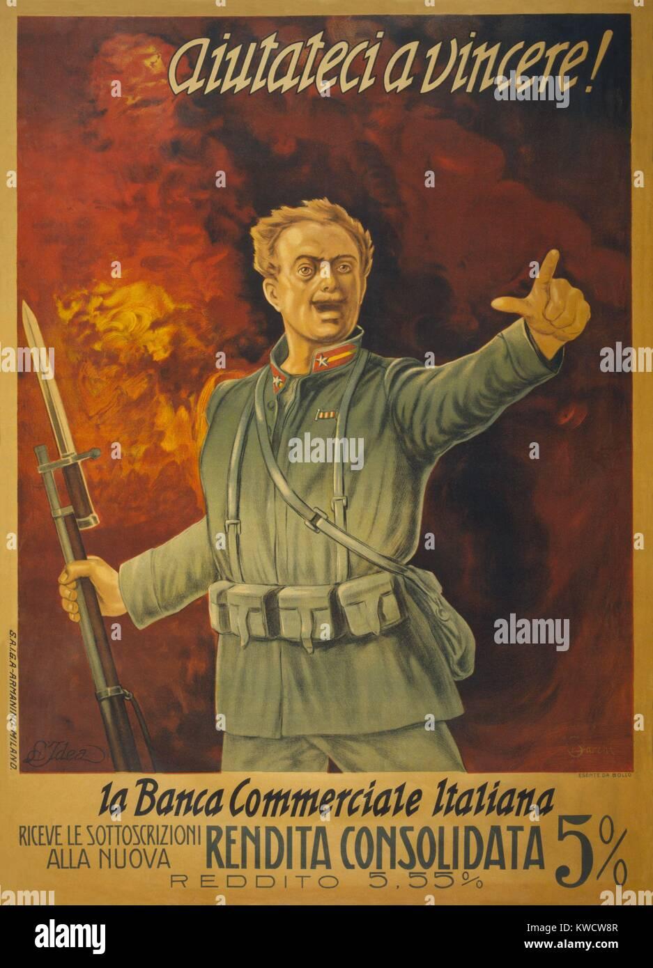 Guerra Mundial italiano 1 póster de Bonos. Pararse delante de una pared de fuego, y soldado italiano con un golpe Foto de stock