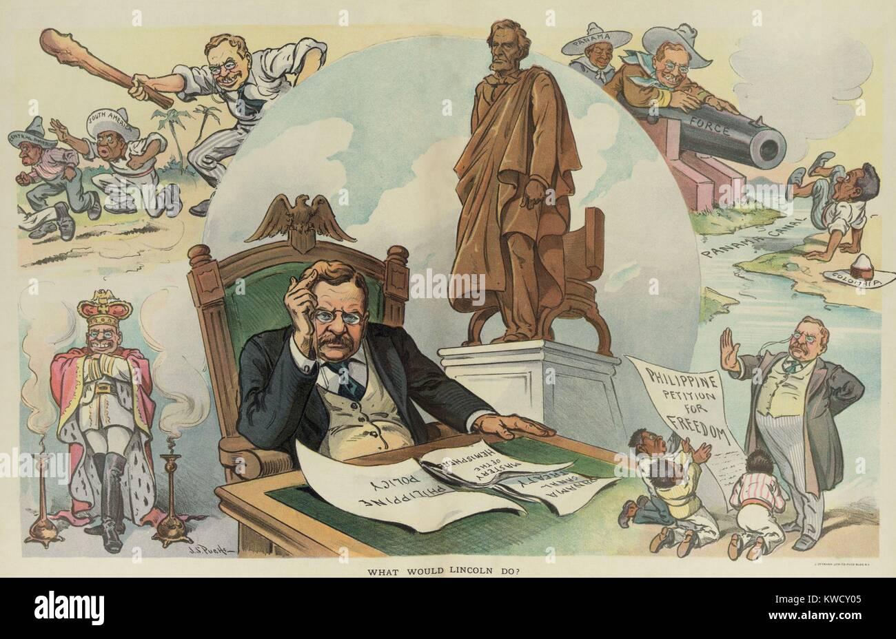 Lo que Lincoln? PUCK Magazine cartoon de 28 de septiembre de 1905. Año Electoral cartoon político crítico de TRs Foto de stock