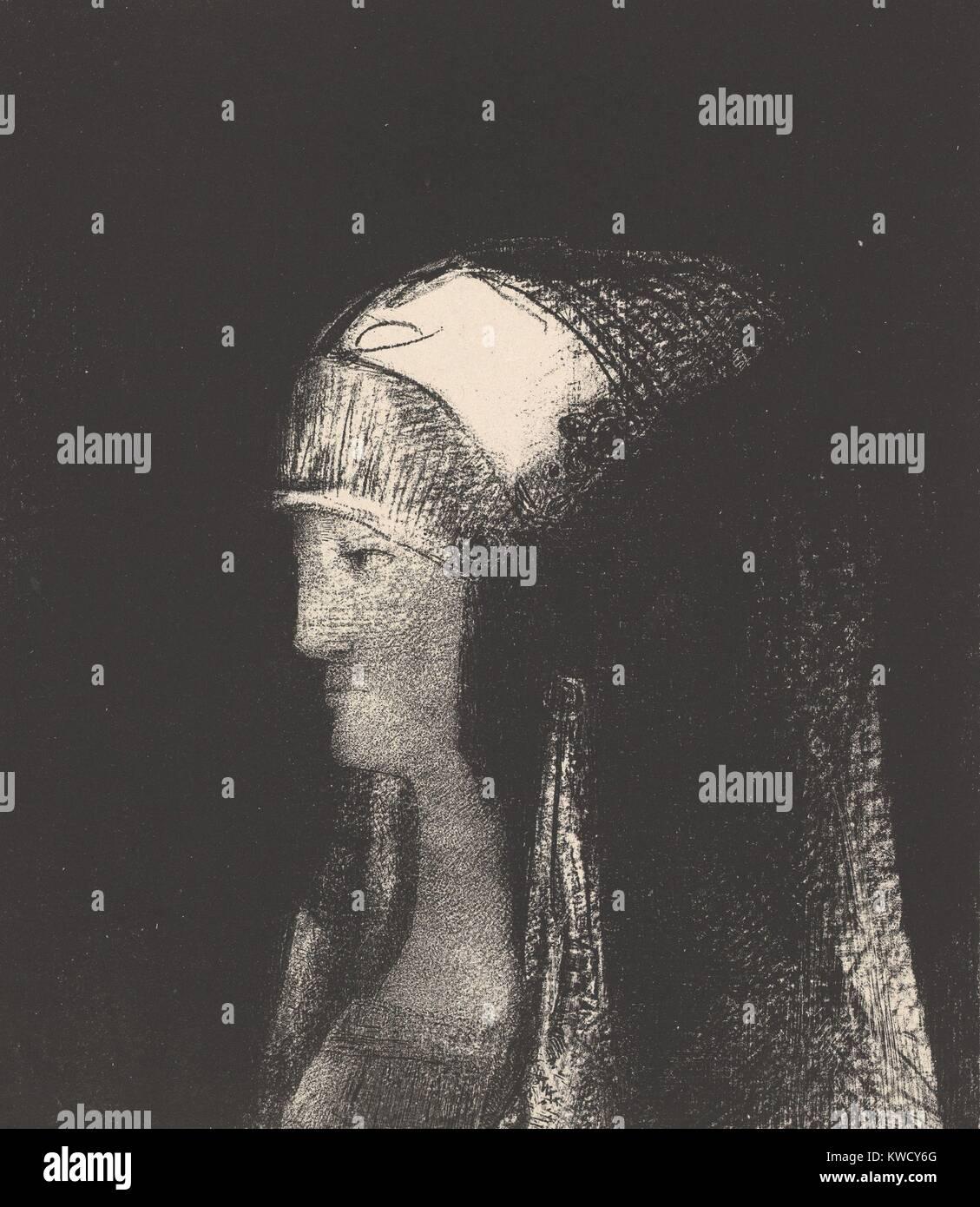 Druidesse, Odilon Redon, 1891, Francés simbolista, litografía de impresión. Sacerdotisa celta con Imagen De Stock