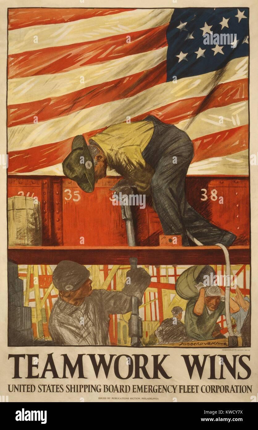 El Trabajo En Equipo Gana 1917 Guerra Mundial 1 Poster Por El Envio