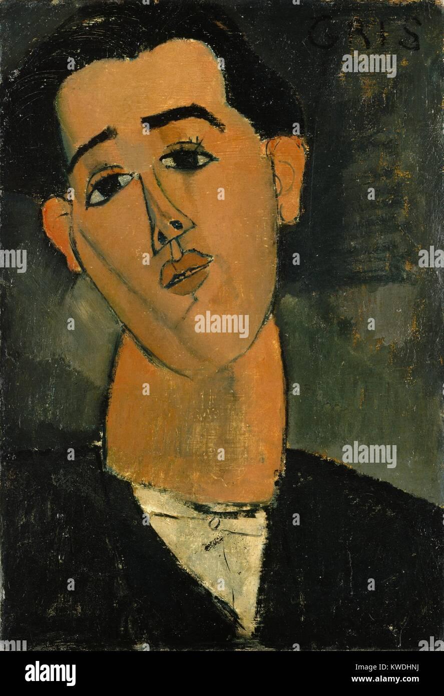 JUAN GRIS, por Amedeo Modigliani, 1915, pintura modernista Italiano, óleo sobre lienzo. Retrato del pintor Imagen De Stock