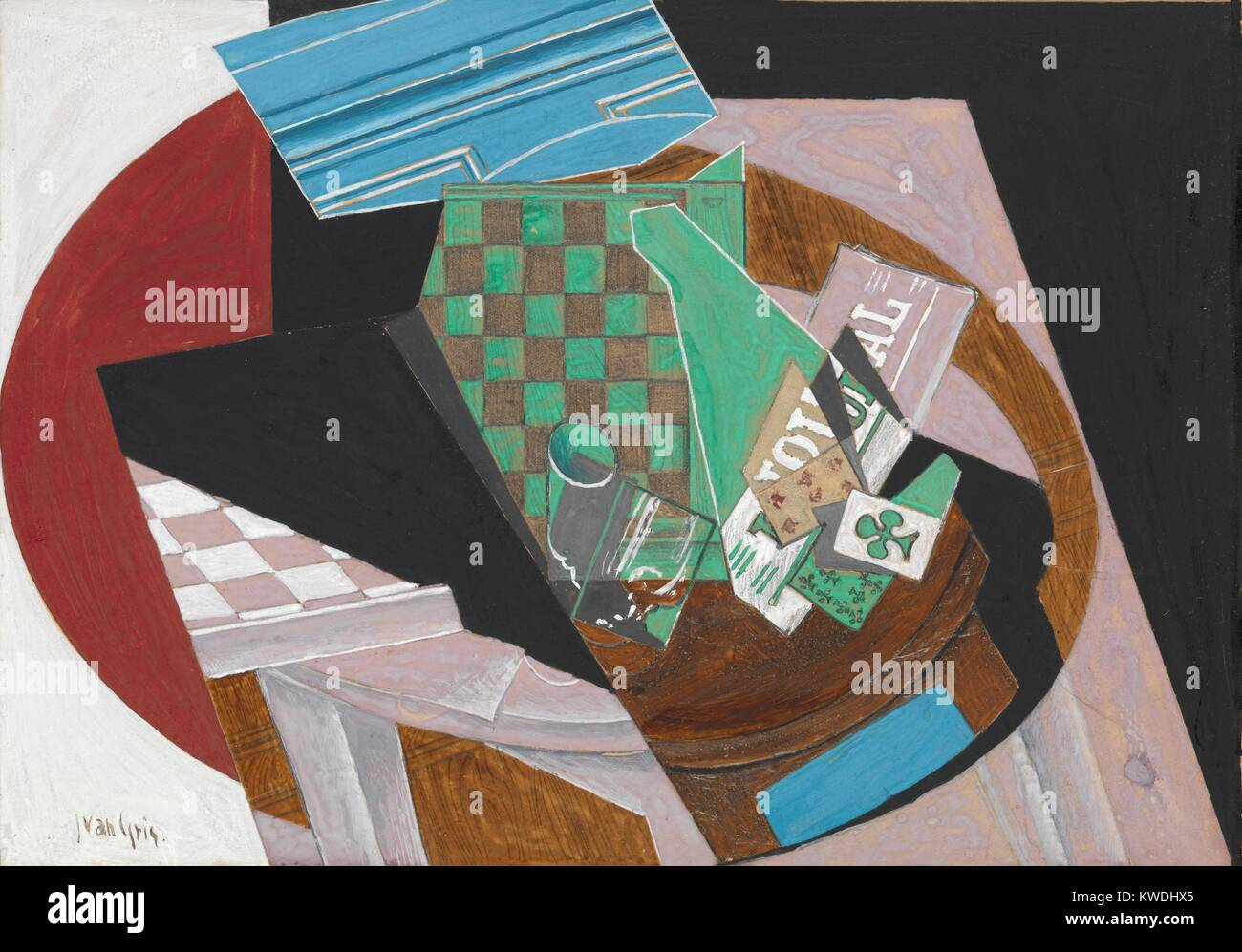 Tablero de ajedrez y jugar a las cartas, de Juan Gris, 1915, Español cubista, dibujo, gouache, grafito y resina Imagen De Stock