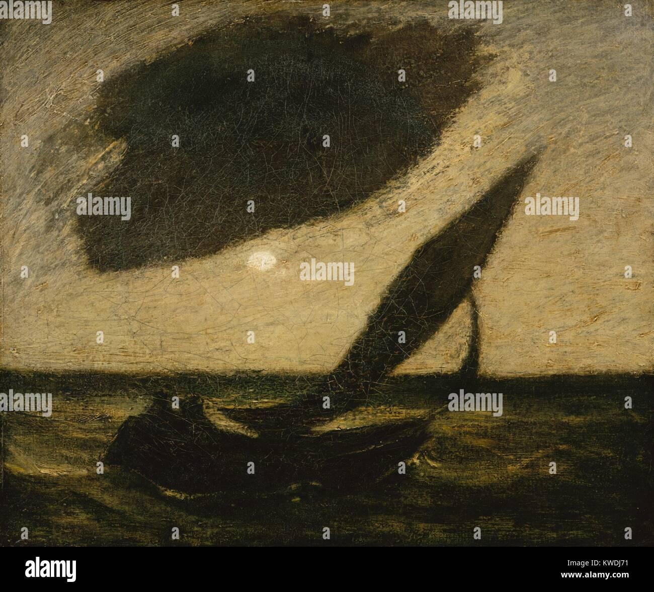 Bajo una nube, por Albert Pinkham Ryder, 1900, pintura americana, óleo sobre lienzo. Este evocador paisaje nocturno representa una gran nube oscura junto a una pequeña luna llena sobre un velero en el agua (BSLOC_2017_9_34) Foto de stock