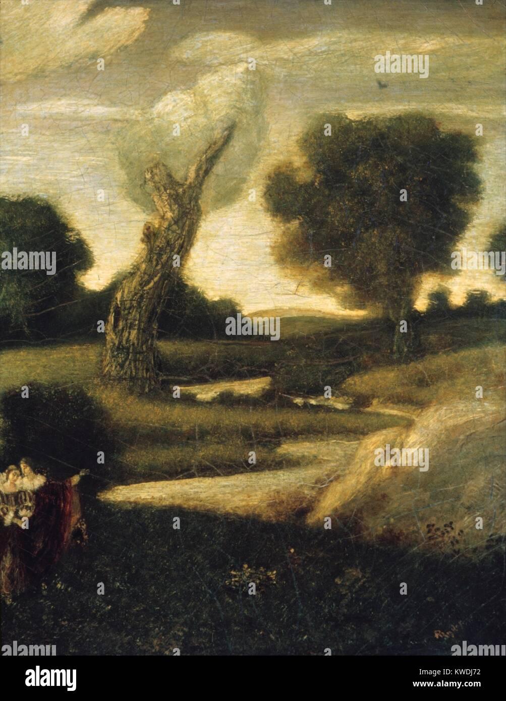 El bosque de arden, por Albert Pinkham Ryder, 1888-1908, la pintura norteamericana, óleo sobre lienzo. El título Foto de stock