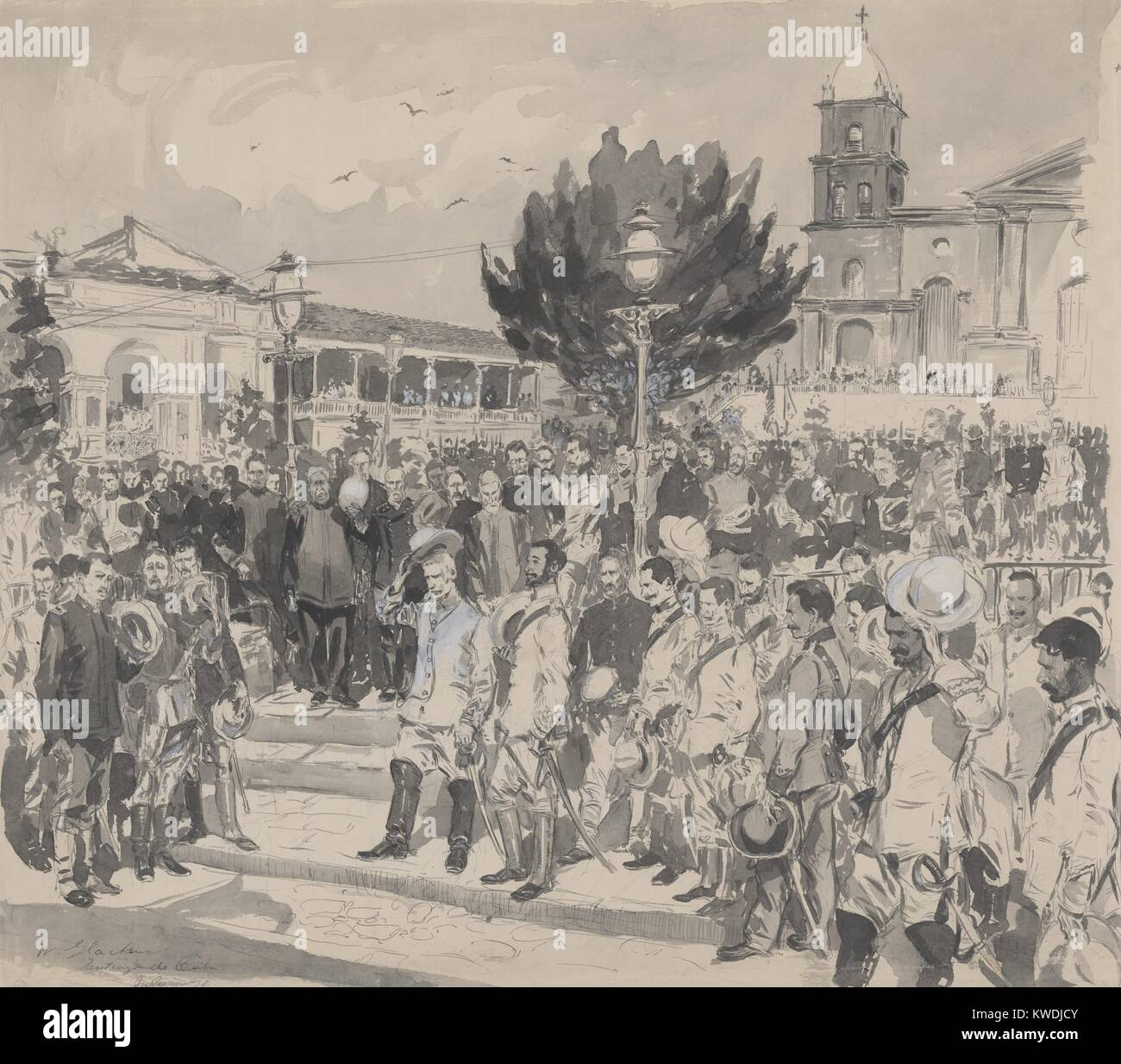 Los oficiales militares españoles y estadounidenses en una plaza de Santiago de Cuba, durante la ceremonia de rendición, Foto de stock