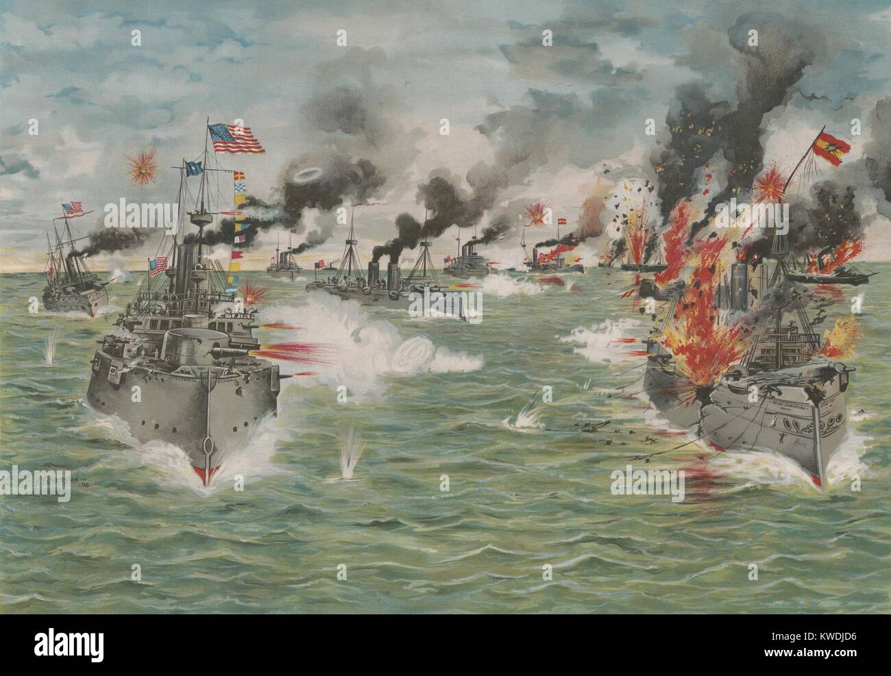 Nosotros Escuadrón asiático ofrece la última atacando a la flota del Pacífico de los españoles, Imagen De Stock