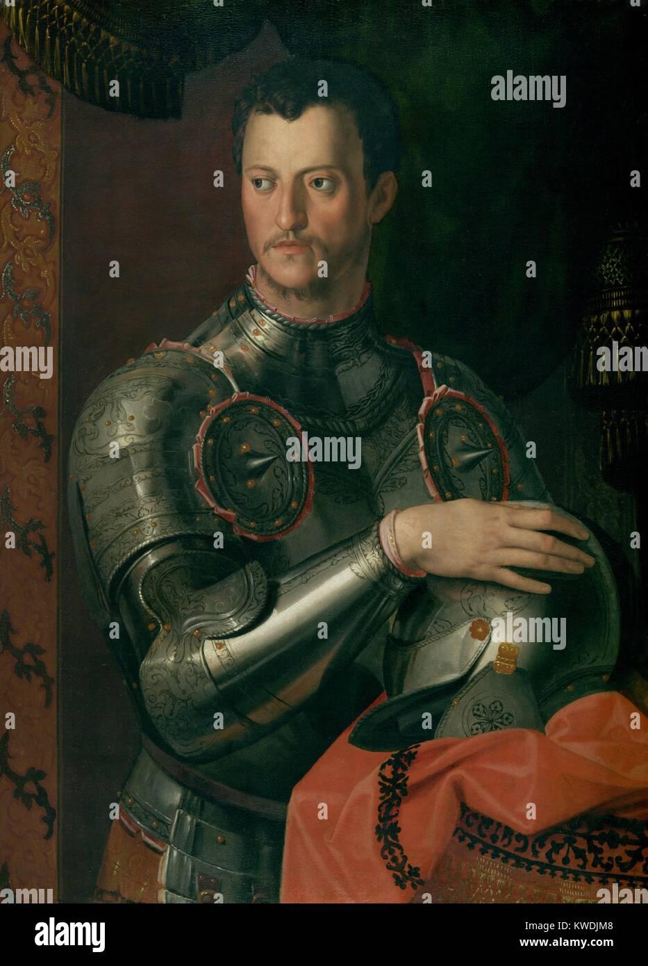 COSINO I de Médicis, Taller de Bronzino, 1550-74, la pintura del Renacimiento Italiano, oleo sobre madera. Cosimo ascendió al poder, cuando el Duque de Florencia, Alessandro de Medici, fue asesinado en 1537. Italia Central fue interrumpido por la guerra regional e internacional durante la mayor parte de sus 34 años de imperio (BSLOC_2017_16_85) Foto de stock