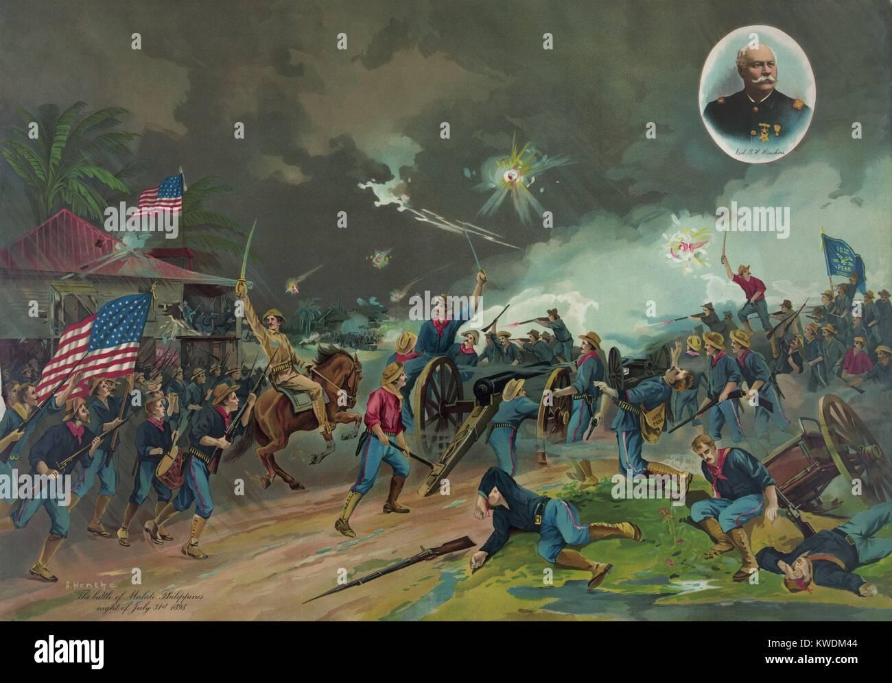 Batalla de Malate, Islas Filipinas, en la noche del 31 de julio de 1898, durante la guerra entre España y Estados Imagen De Stock