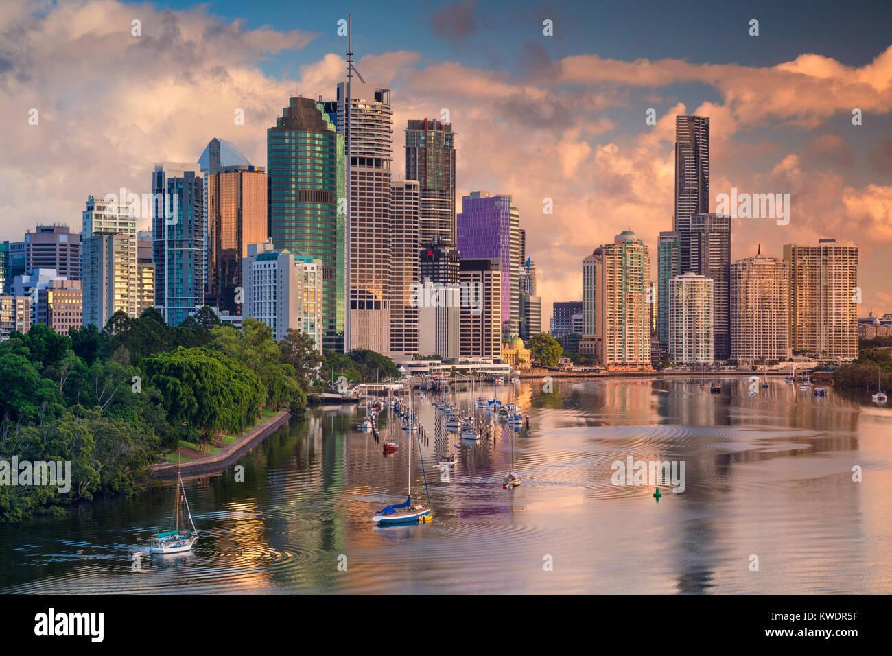 Brisbane. Paisaje urbano imagen de skyline de Brisbane, Australia durante el amanecer. Imagen De Stock