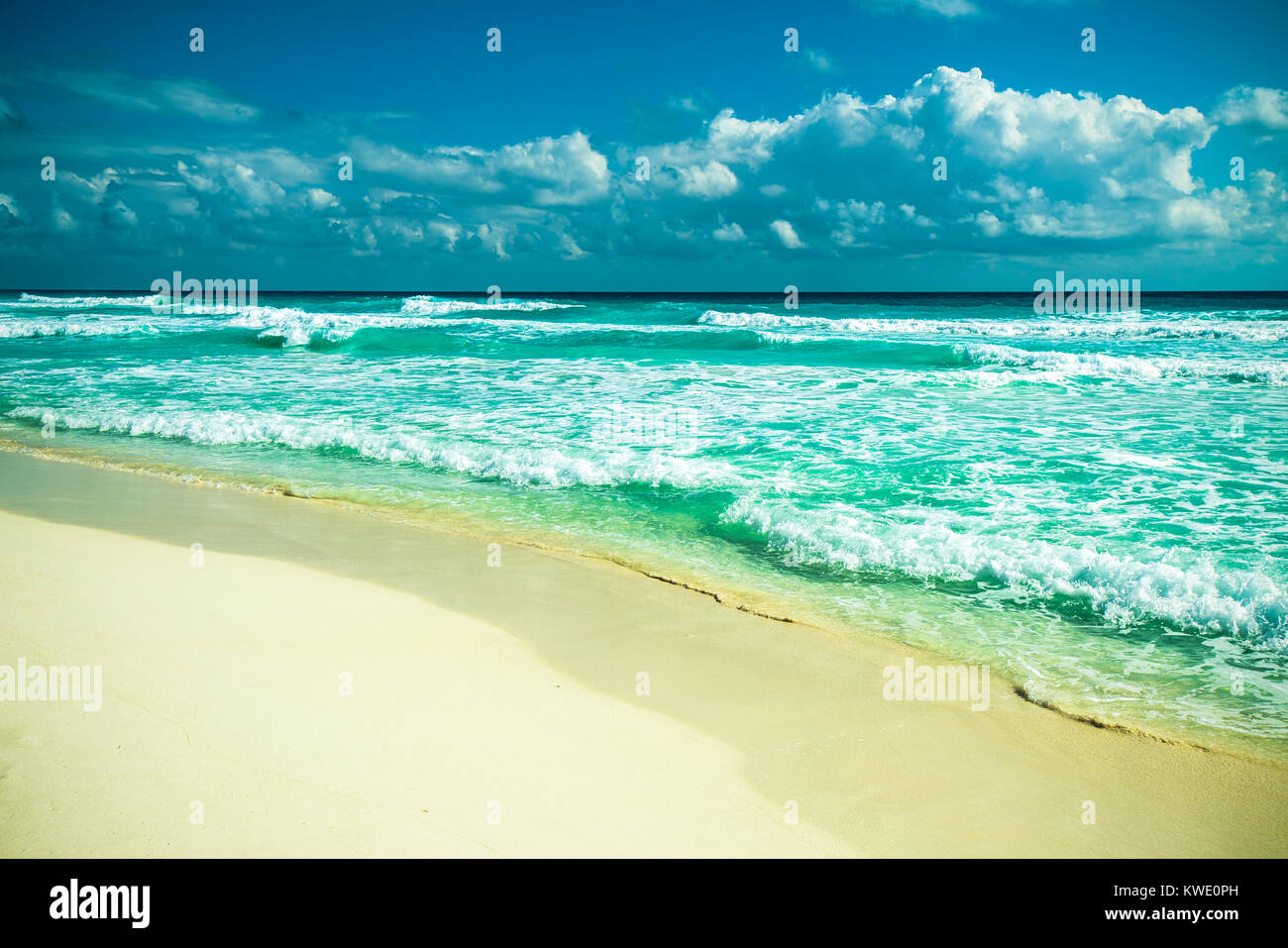 Panorámica de la playa de Cancún, México Imagen De Stock
