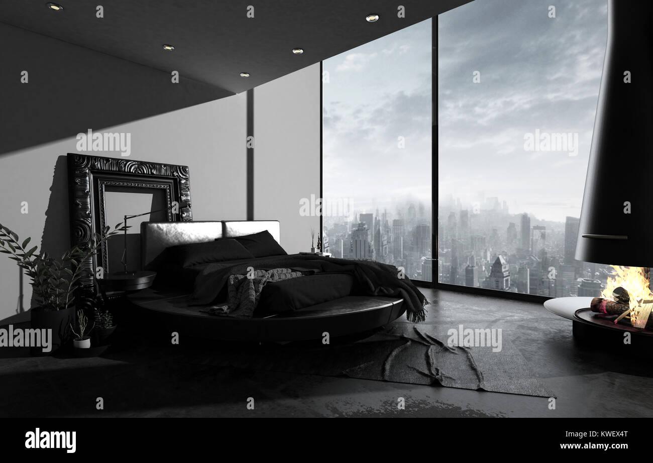 Habitación Ático en el minimalismo oscuro, negro cama de diseño ...