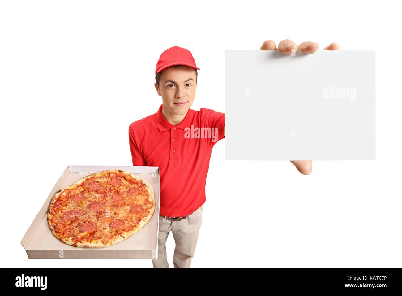 Entrega de pizza adolescente niño sosteniendo una caja de pizza y ...