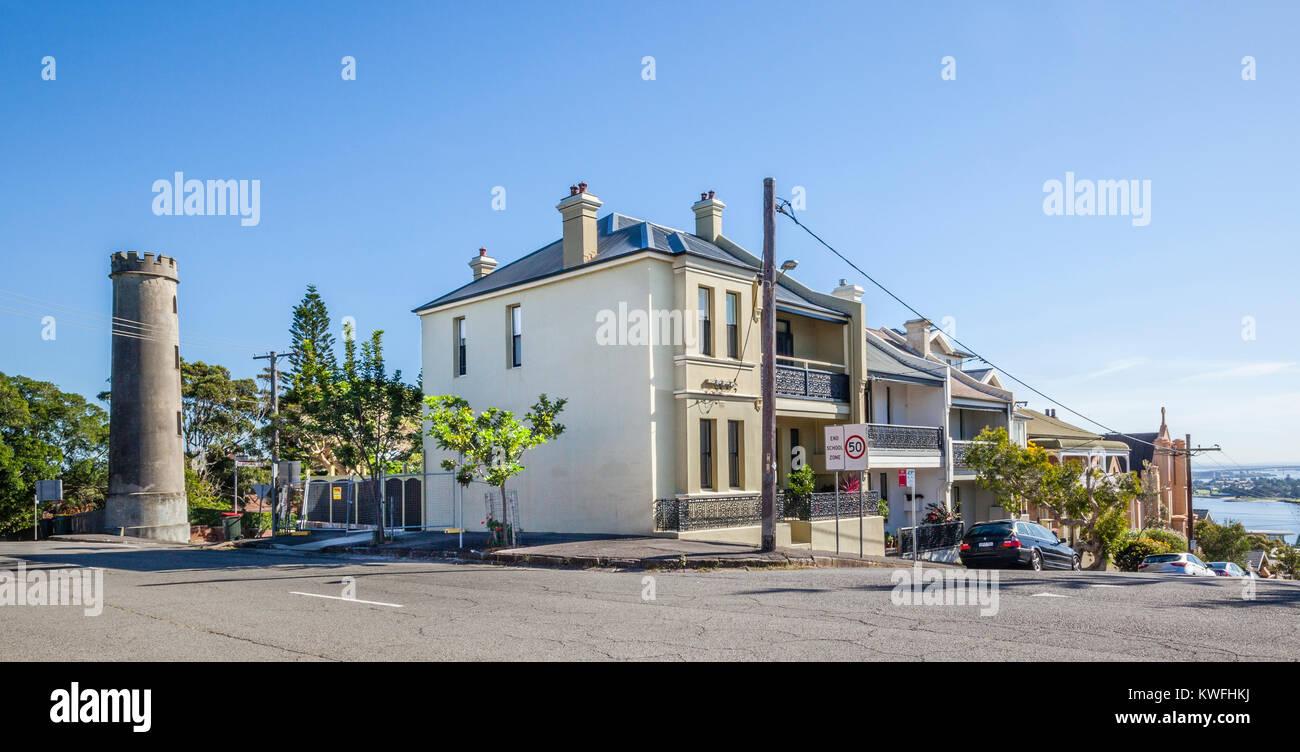 Australia, Nueva Gales del Sur, Newcastle, Luz de plomo Tower, la torre redonda fue puerto del siglo XIX, ayuda Imagen De Stock