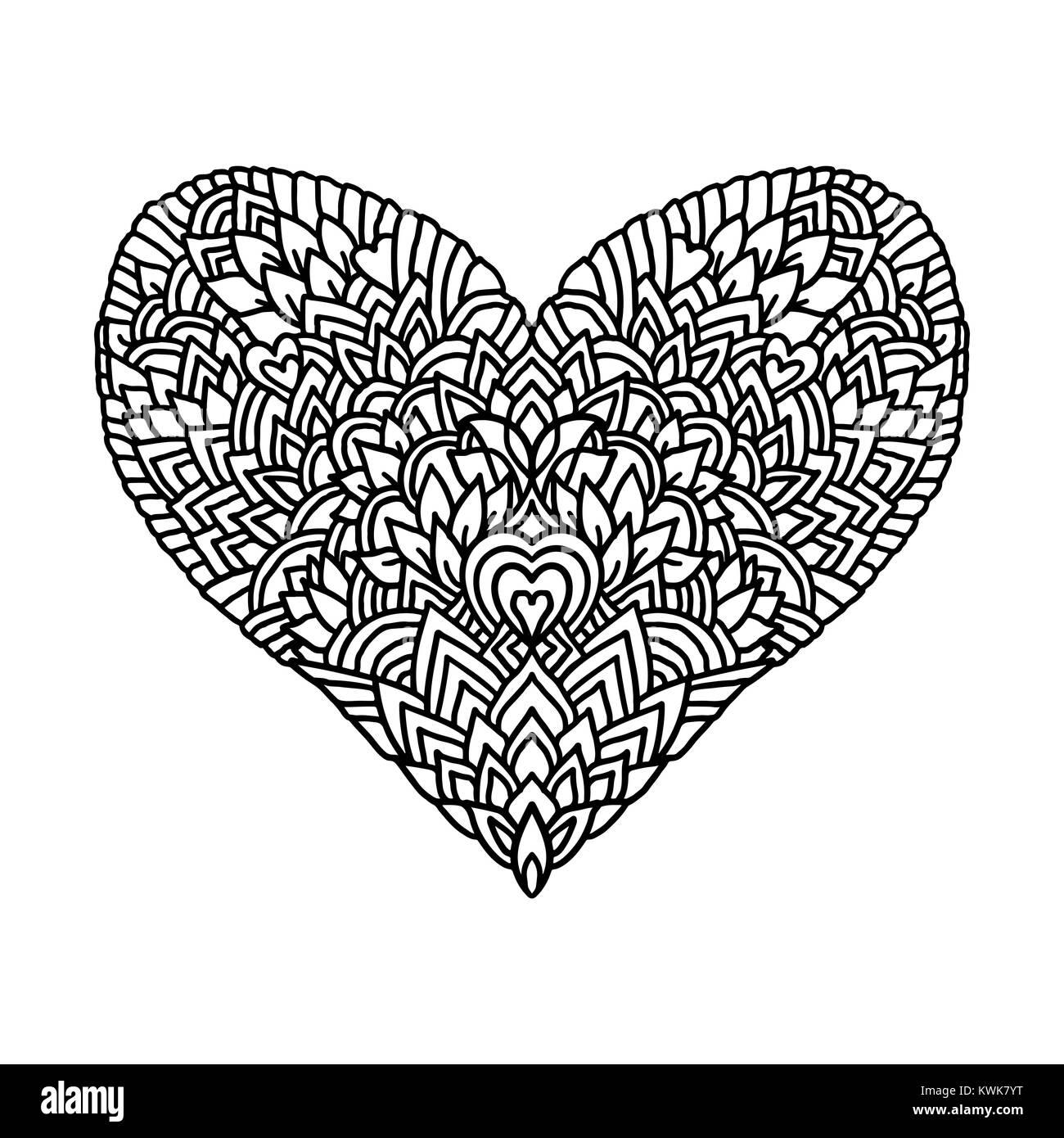 Zentangle Handdrawn Corazón Mandala De Estilo De Diseño Para El Día