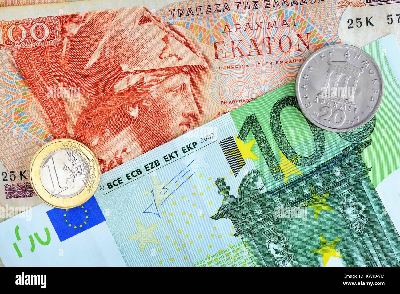 Grecia y el euro, Griechische drachm Drachme und Euro Foto de stock