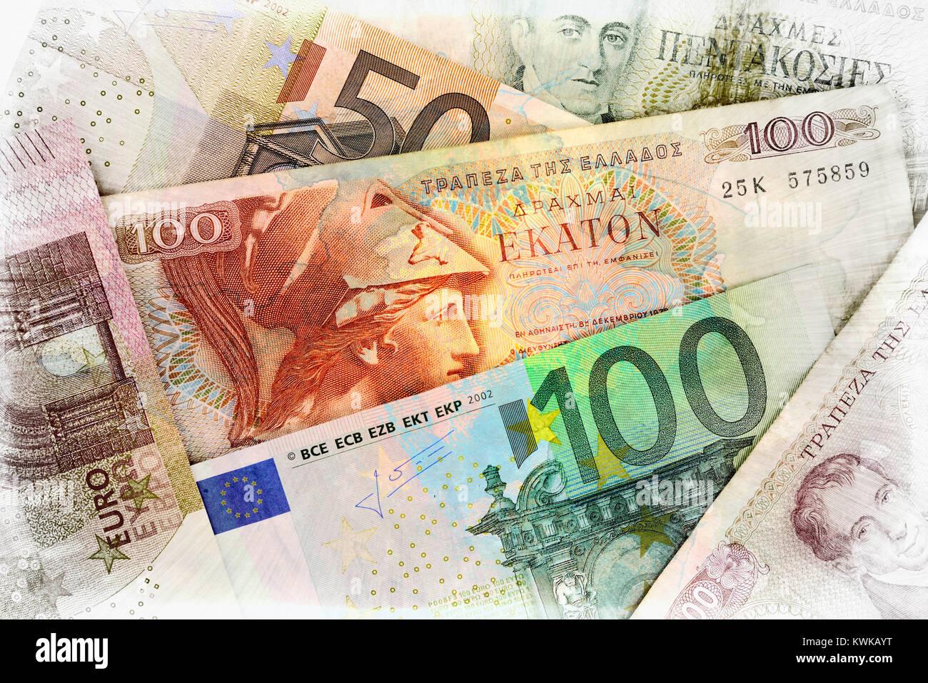 Griego y, Griechische drachms euronotes Drachmen und Euroscheine Foto de stock