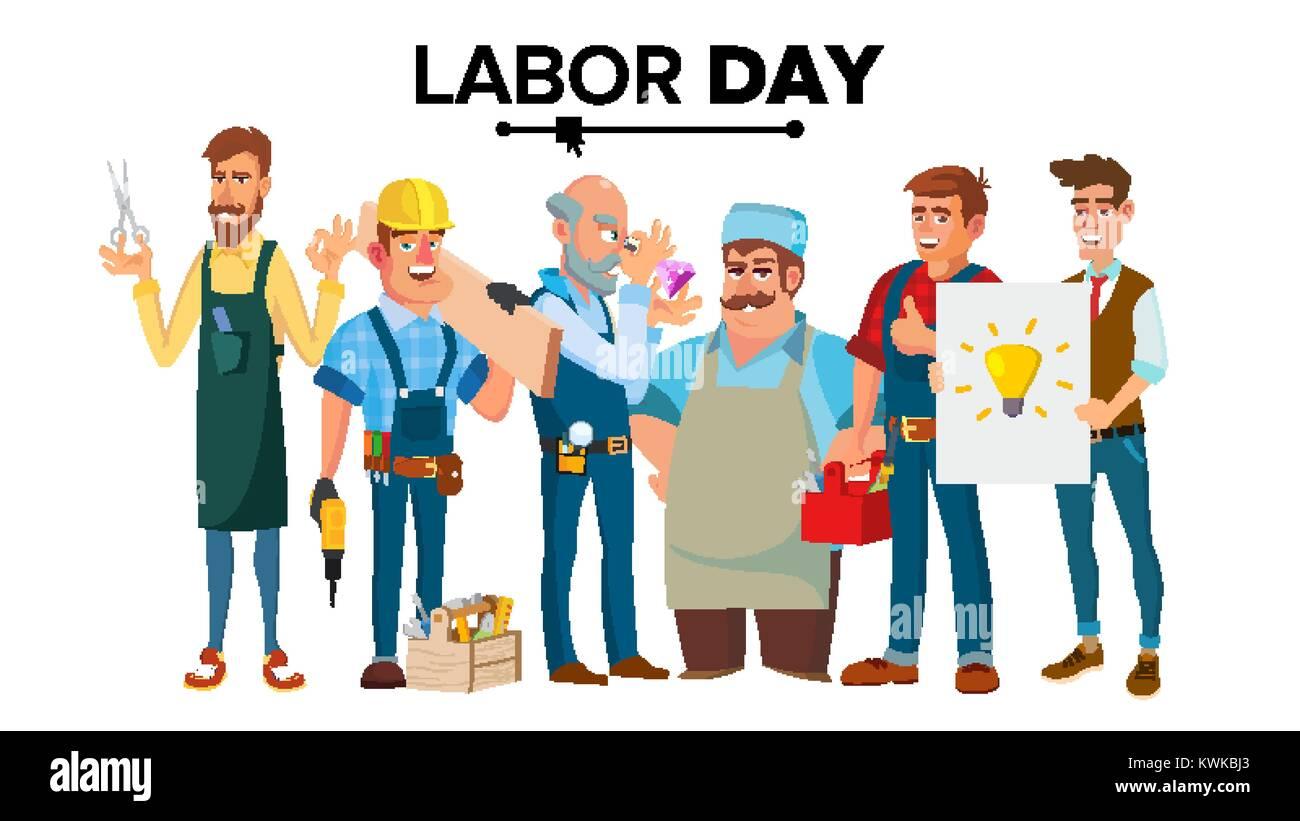 Vector Del Día Del Trabajo. Un Grupo De Personas De