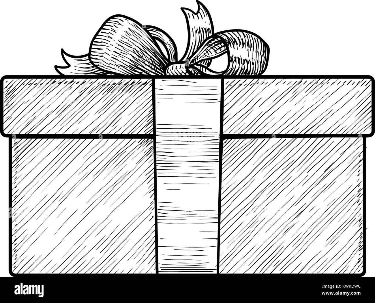 Ilustración De La Caja De Regalo Dibujo Grabado Tinta El Arte