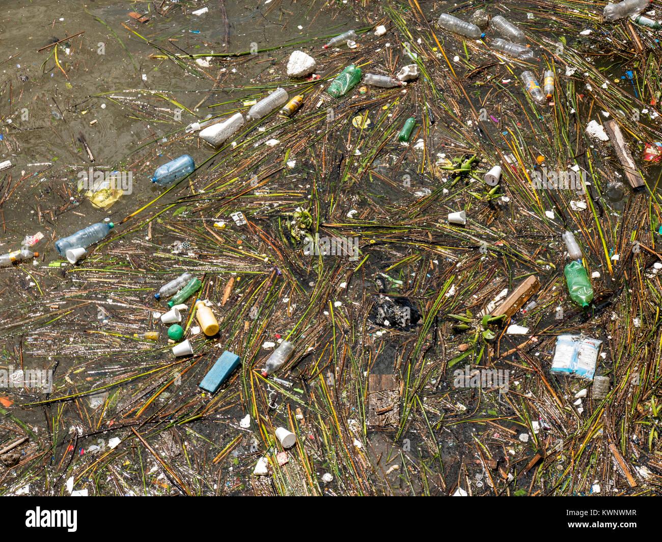 La contaminación, los desechos; basura; basura flotando en el Océano Atlántico a lo largo de la costa Imagen De Stock