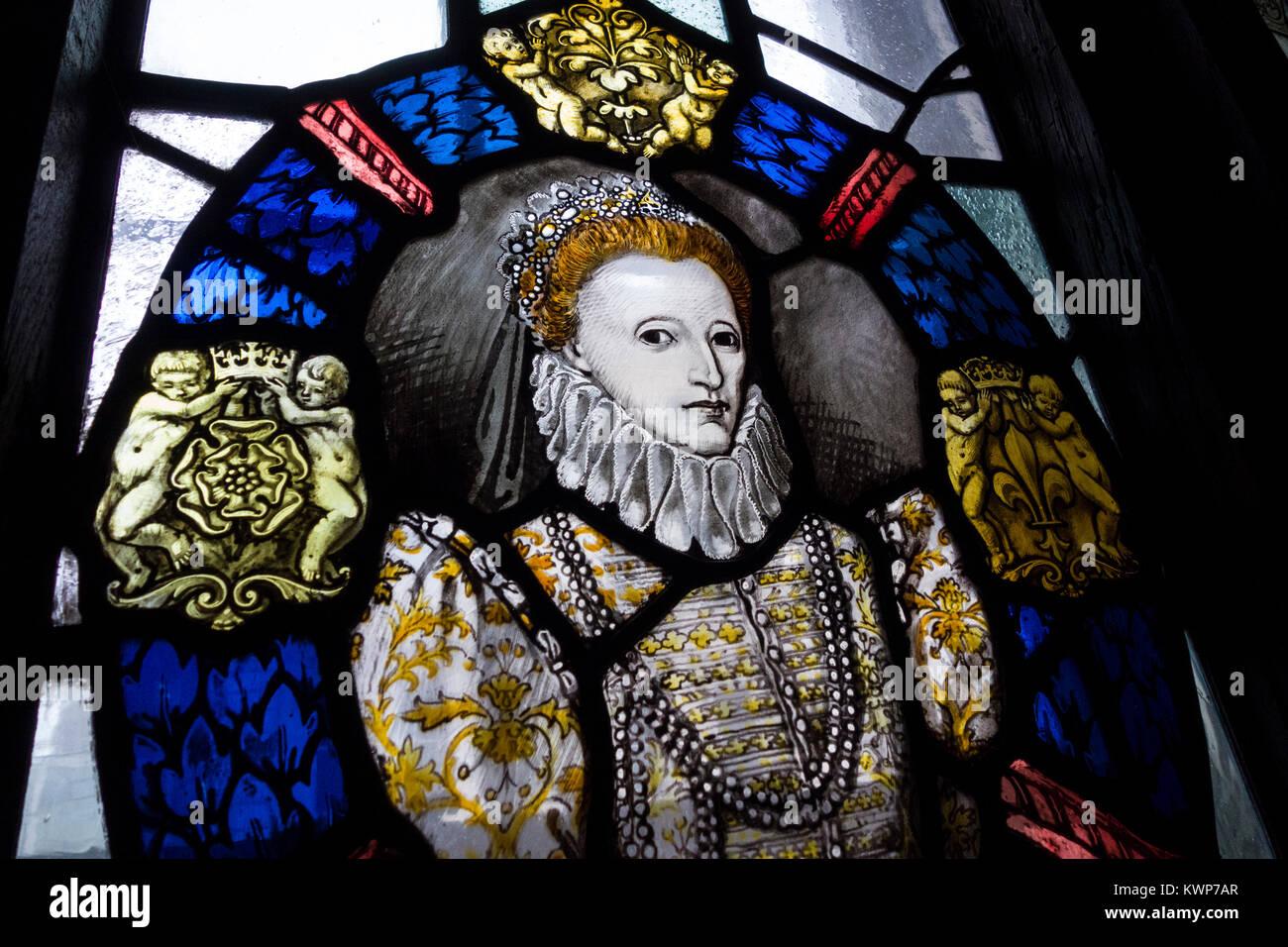 Vidriera de Isabel I Al Gore Hotel, Londres, Inglaterra Imagen De Stock