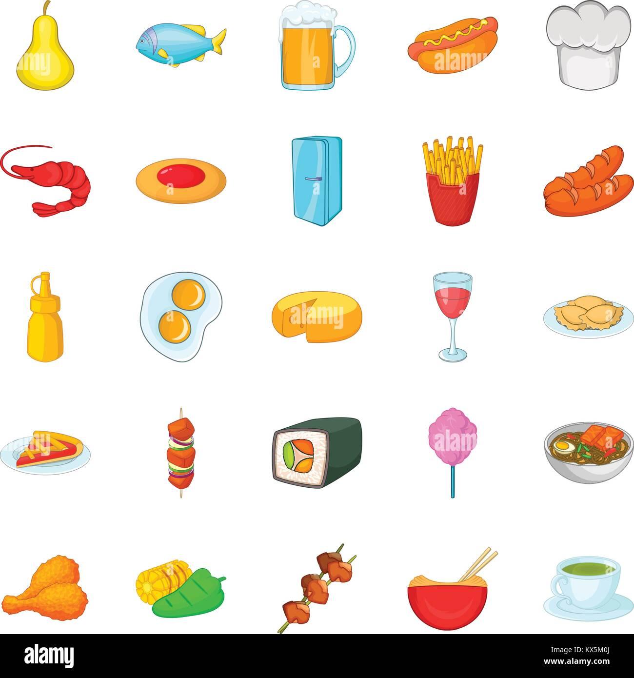 La diversidad culinaria, conjunto de iconos de estilo de dibujos animados Ilustración del Vector