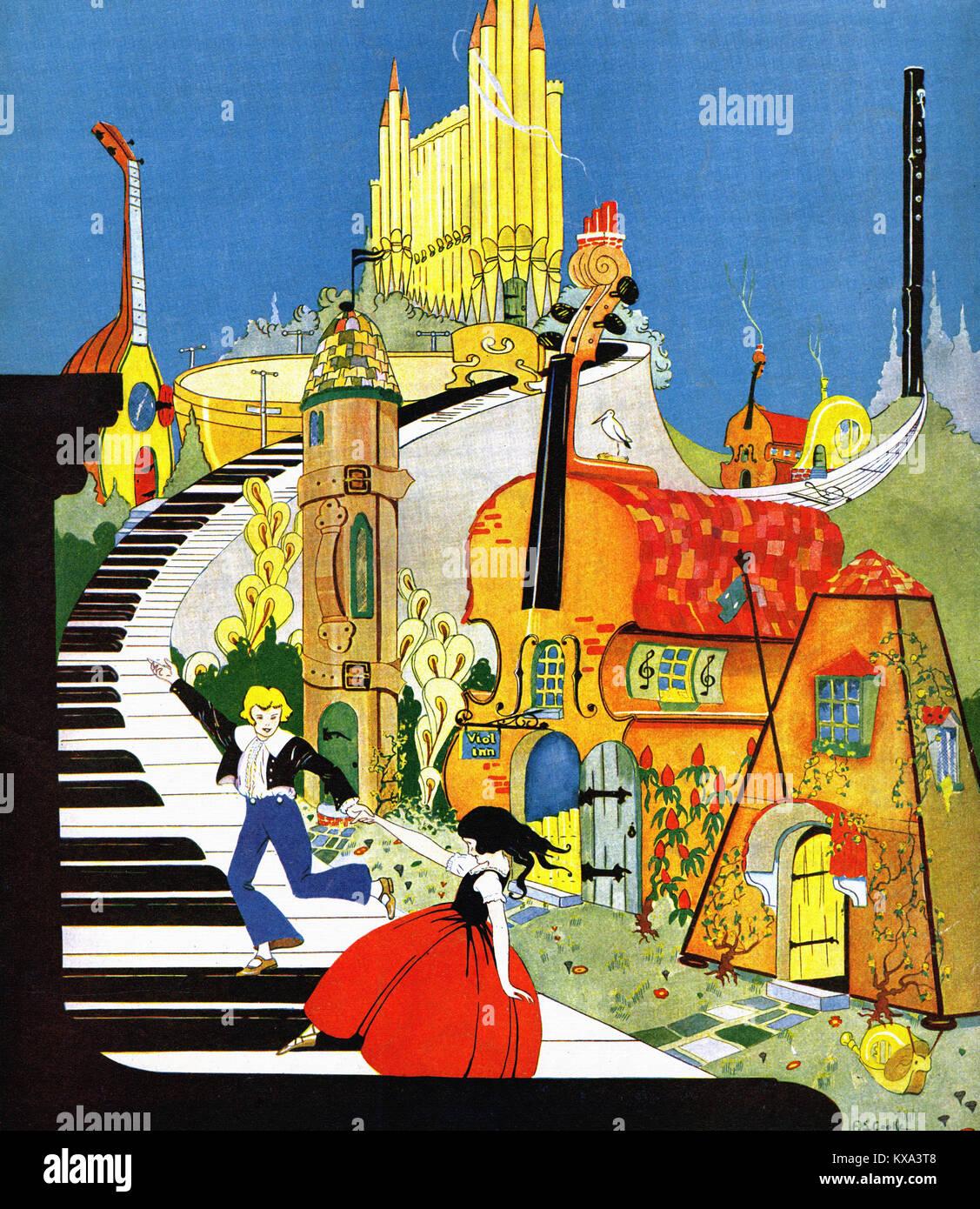 La fantasía de dibujos animados sobre un piano Imagen De Stock