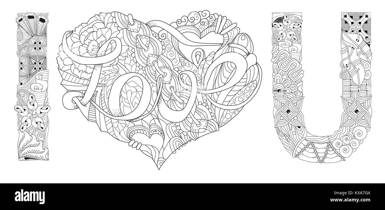 Arte diseño pintado a mano. Anti-estrés adulto página para colorear ...