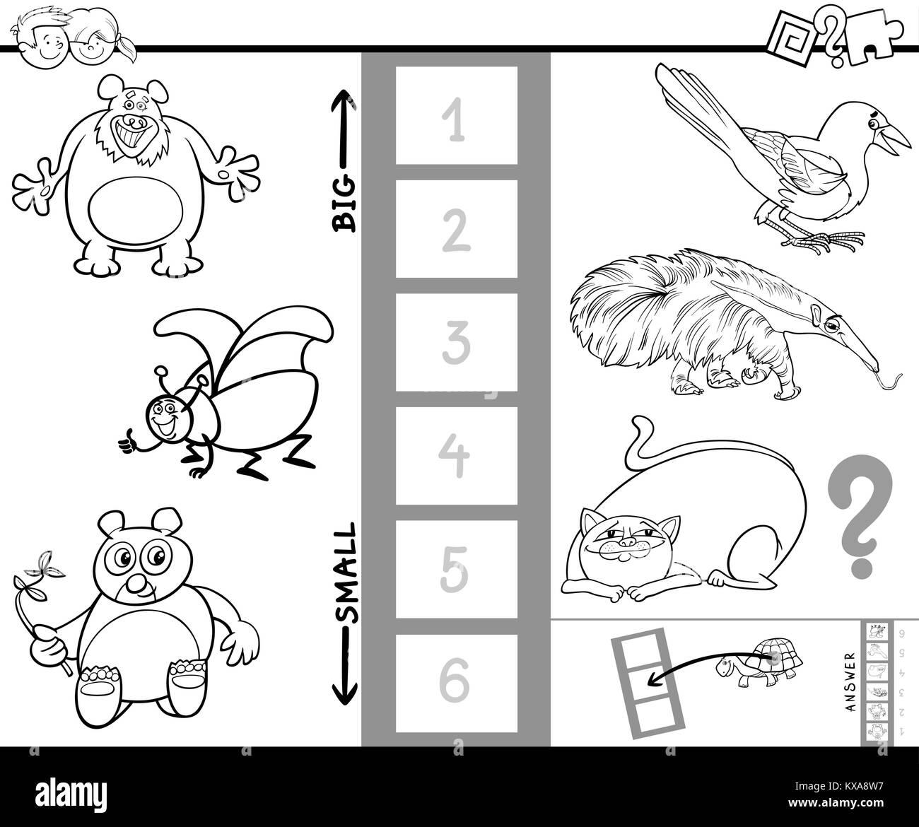 Ilustración Caricatura En Blanco Y Negro De Juego Educativo De