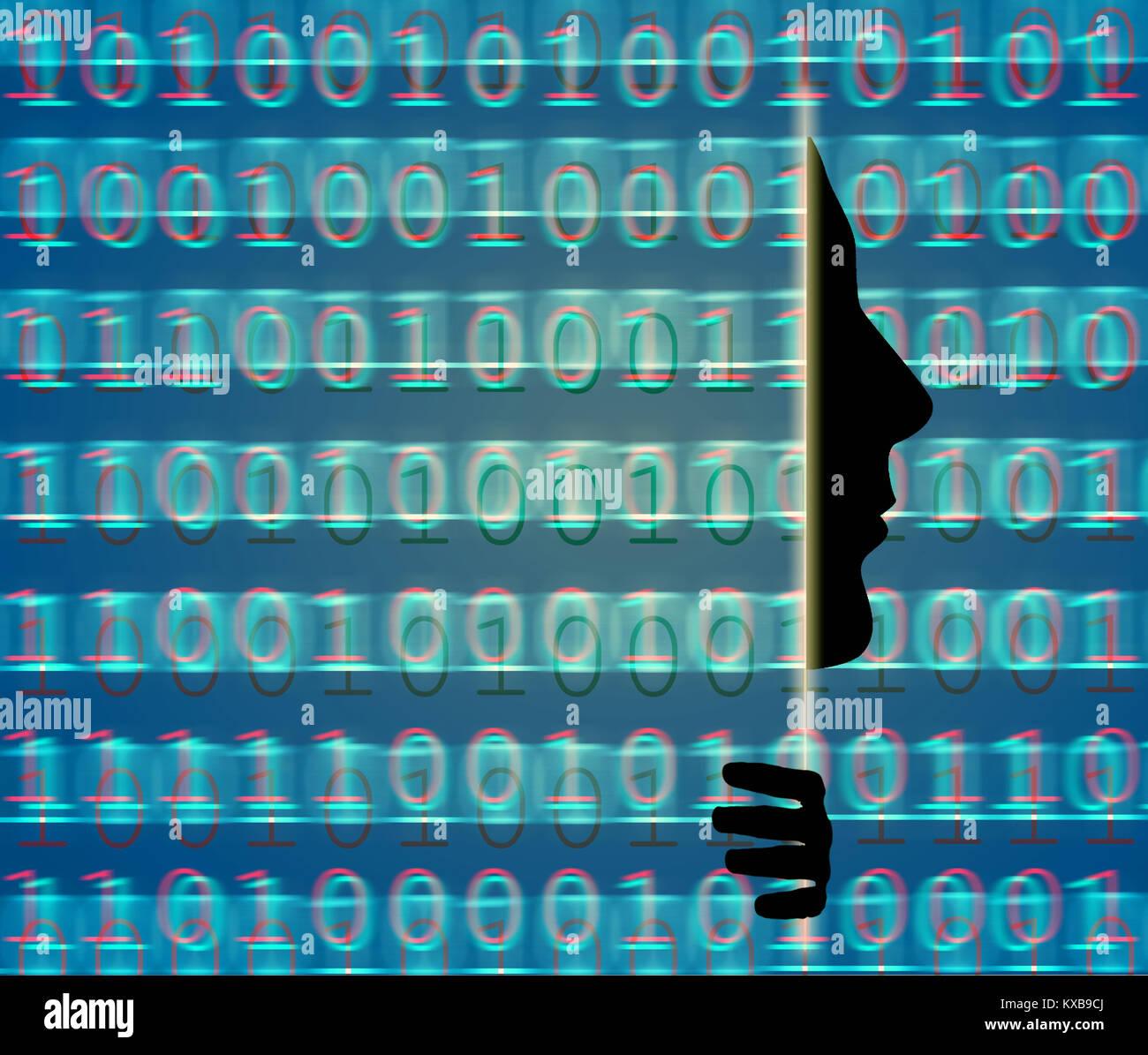 Secutity web con código binario y de perfil humano. Imagen De Stock