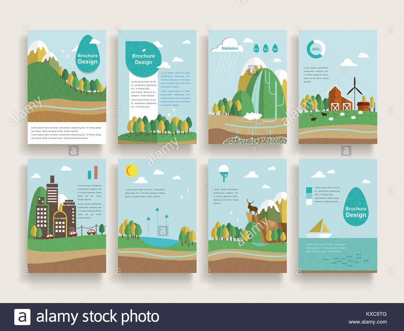 Plantilla de folleto diseño encantador escenario natural con ...
