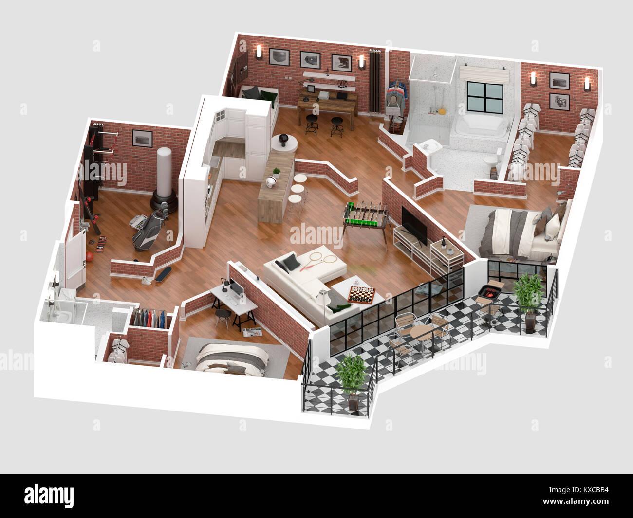 Plano de planta de una casa vista superior ilustraci n 3d concepto abierto dise o de - Diseno de casa en 3d ...