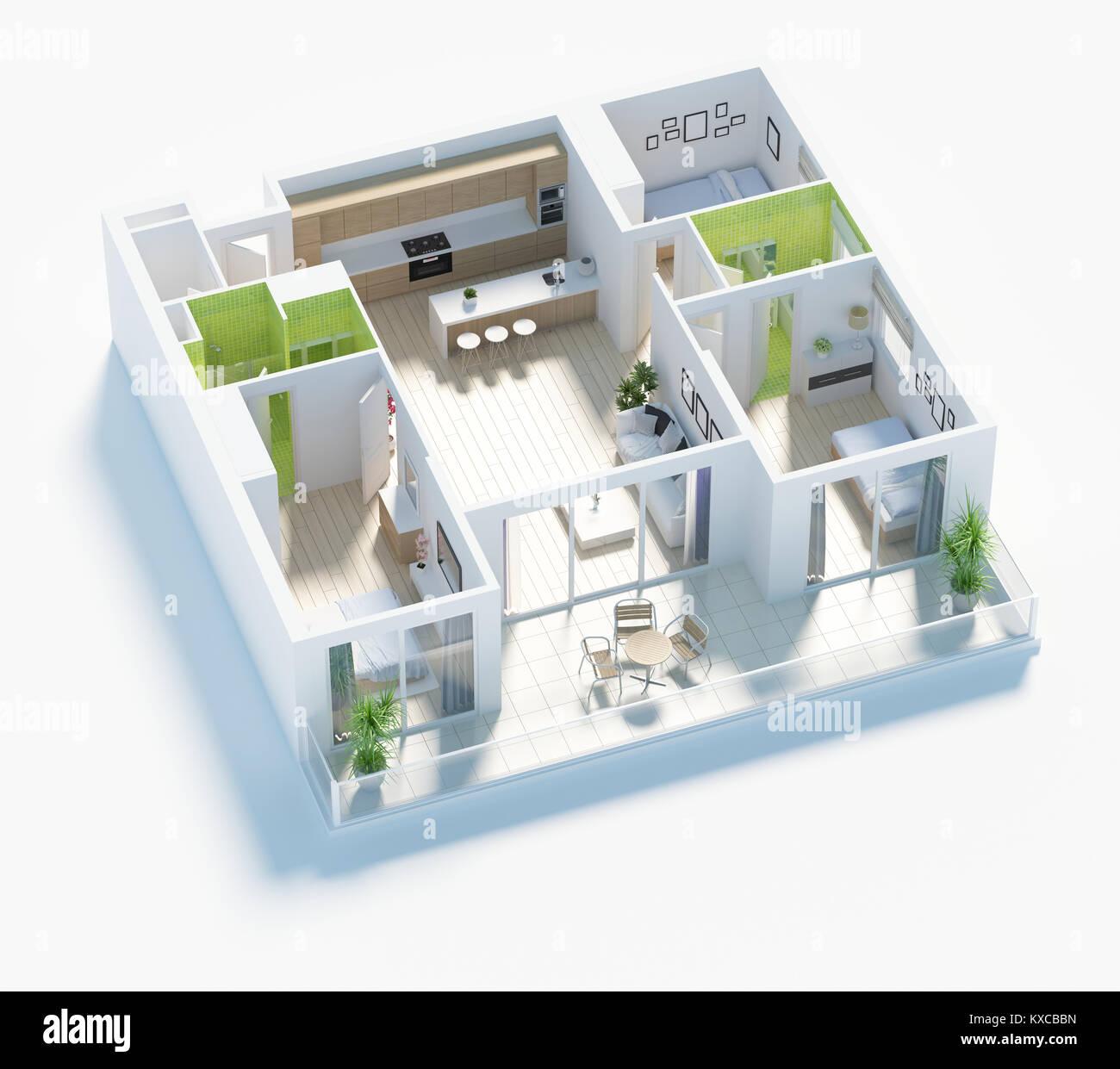 Plano de planta de una casa vista superior ilustraci n 3d for Planner casa 3d